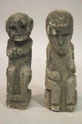 2 Sumbanese (Tau Humba) Stone Carved Figures