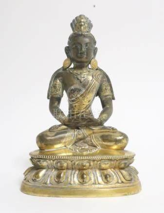 Sino-Tibetan Gilt Bronze Buddha hands Dhyana mudra