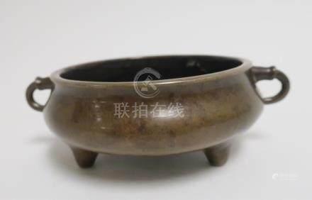 Chinese Bronze 2-Handled Censer