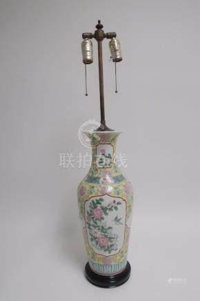 Chinese Famille Juane Porcelain Vase as Lamp