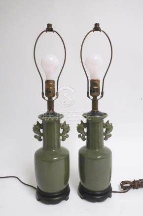 Pair of Chinese Style Tea Dirt Porcelain Lamps