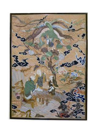 Antique Chinese Embroidered Silk Crane Panel 70x50