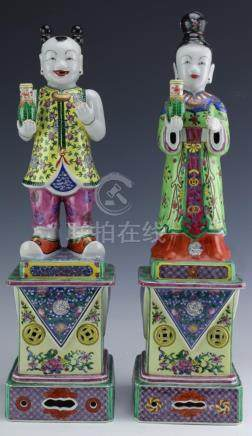 "Pair of Chinese Porcelain Famille Rose 18"" Statues"
