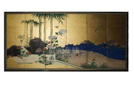 Fine Japanese Painting Paper Silk Folding Screen