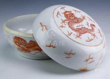 Old Chinese Porcelain 4 Toed Dragon Lidded Jar Box