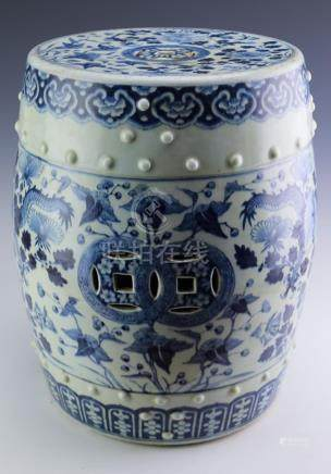 Old Chinese Porcelain Blue & White Garden Seat