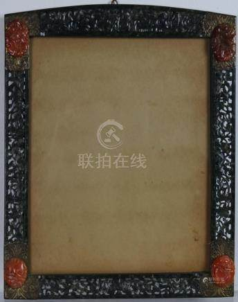 Chinese Spinach Jade Carnelian Photo Picture Frame