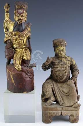 LOT of 2 Chinese Export Carved Wood Warrior Statue