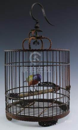Old Chinese H-Carved Wood Hanging Birdcage w/ Bird