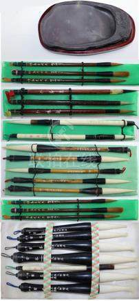 20 Chinese Calligraphy Scholars Brushes Ink Stone
