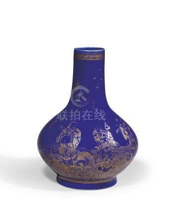 清光緒  祭藍描金八仙過海荸薺瓶