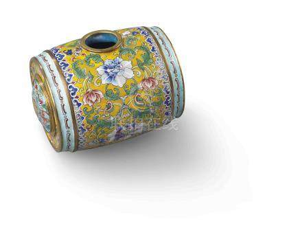 清乾隆 銅胎畫琺瑯纏枝番蓮紋鼓式水丞