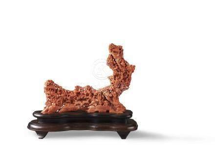 清 珊瑚雕「歌舞昇平」擺件