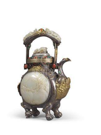 清乾隆 銀鎏金嵌玉提樑壺