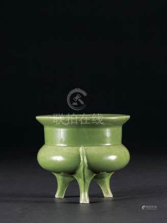 民國 綠釉鬲式爐
