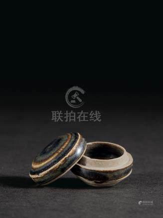宋 磁州窯黑釉香盒