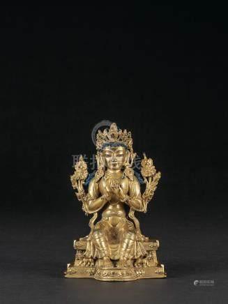 清乾隆 銅鎏金彌勒佛坐像