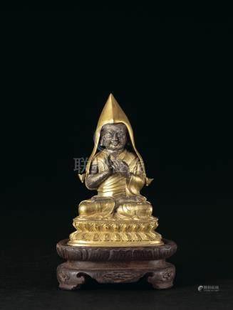 清乾隆 銅鎏金宗喀巴坐像