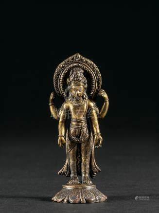 十二/十三世紀 銅鎏金四臂觀音立像