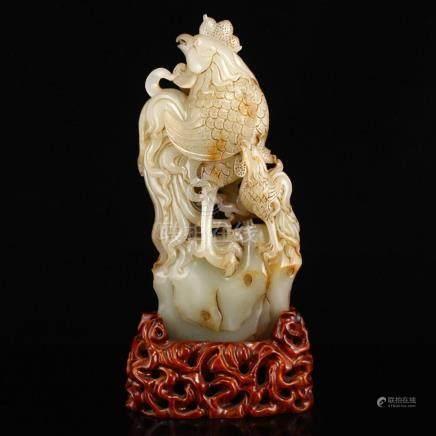 Superb Vintage Chinese Hetian Jade Roosters Statue