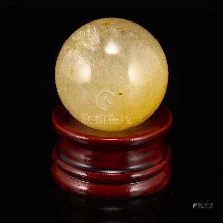 Vintage Chinese Gold Wire Crystal Fengshui Ball
