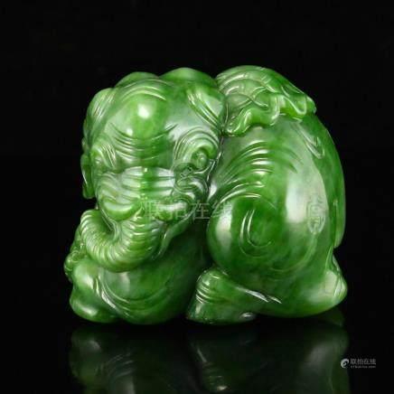 Superb Chinese Green Hetian Jade Elephant Statue w Certifica