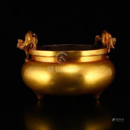 Chinese Gilt Gold Red Copper Double Dragon Incense Burner