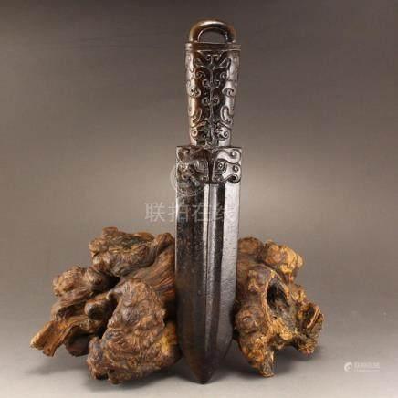 Vintage Chinese Hetian Jade Low Relief Dagger