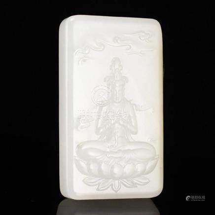 Superb Chinese White Hetian Jade Lotus Kwan-yin Pendant w Ce