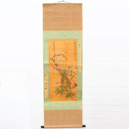 Chinese Watercolour on Xuan Paper Peach Flowers Painting - L
