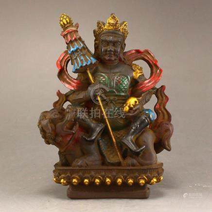Vintage Tibetan Buddhism Gilt Gold Peking Glass Yellow Jambh