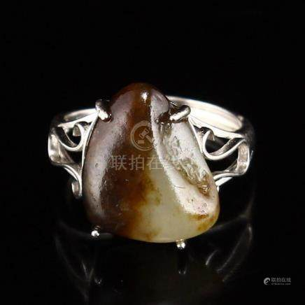 925 Silver Inlay Natural Hetian Jade Ring w Certificate