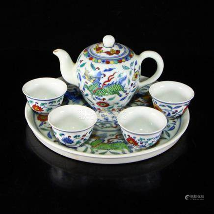 A Set Chinese Doucai Porcelain Teapot & Cups w Tea Tray