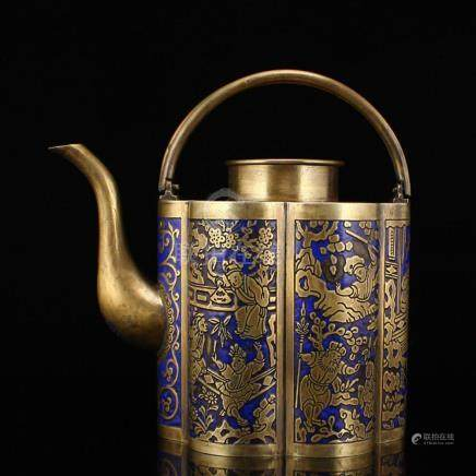 Vintage Chinese White Copper Handle Teapot