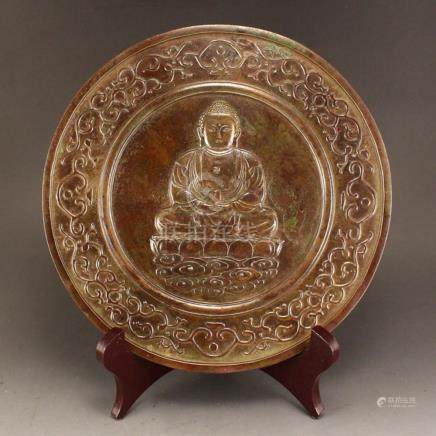 Vintage Chinese Sakyamuni Buddha Design Bronze Mirror