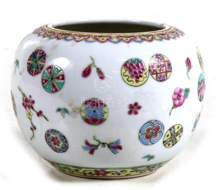 A Chinese brush washer decorated with flowers and roundels in enamel colours, red seal mark to