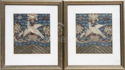 A pair of Chinese Kesi silk embroidered rank badges with central silver pheasant, framed & glazed,