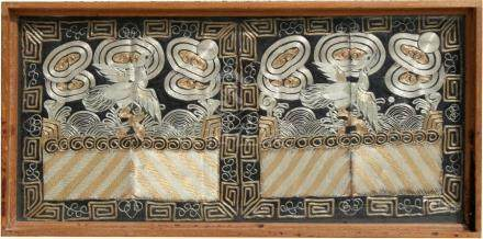 A pair of 19th century Chinese Kesi bullion wire embroidered rank badges with central silver