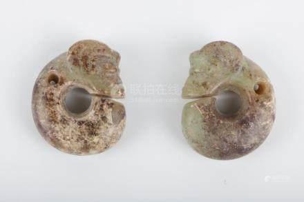 Chinese Pair Of Jade Dragon Beads