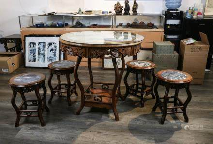 TABLE WITH FOUR STOOLS, LATE QING