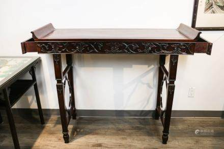 RED WOOD ALTAR TABLE, 20TH C.