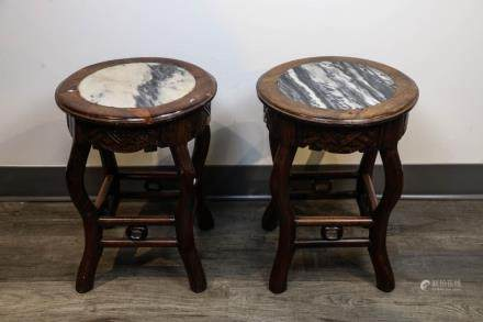 GROUP OF TWO MARBLE INLAD STOOLS, LATE QING