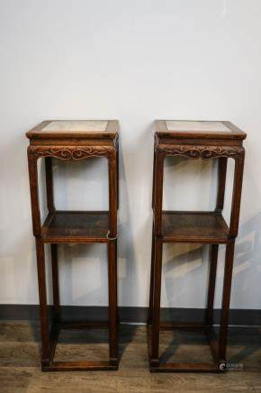 PAIR OF MARBLE INLAID WOOD STANDS