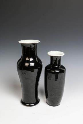 GROUP OF TWO BLACK GLAZE VASES (DRILLED)