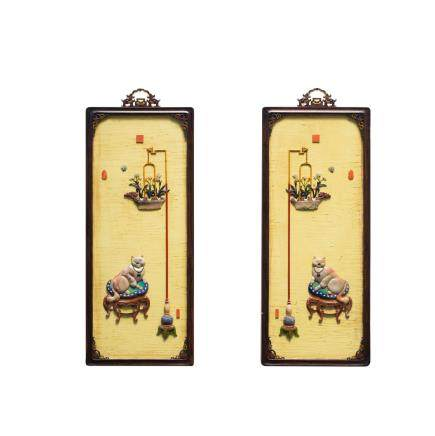 A PAIR OF SHOUSHAN INLAID ZITAN WALL PANELS