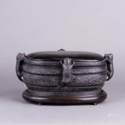 A DUAN INKSTONE WITH FITTED LID & STAND, QING DYNASTY