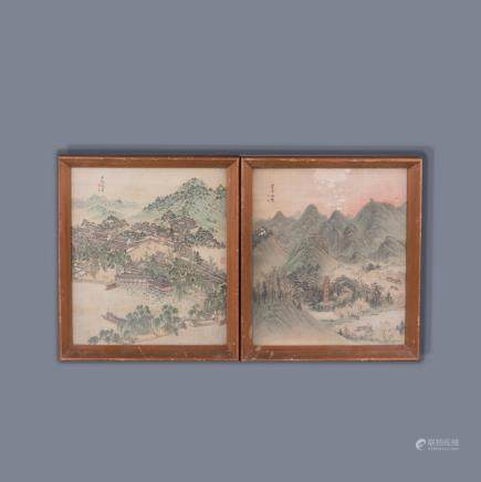 ANONYMOUS (QING DYNASTY), PAIR OF WEST LAKE SCENERY