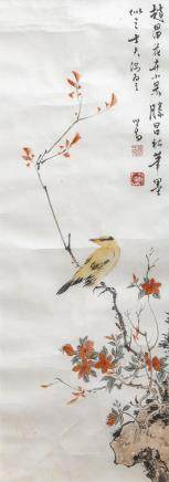 PU RU (1896-1963), BIRD AND FLOWER