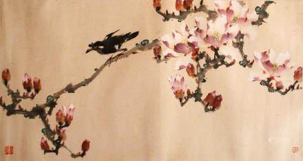 ZHAO SHAO'ANG (1905-0998), BIRD AND FLOWER