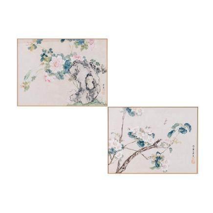 JU LIAN (1824-1904), TWO FLOWERS